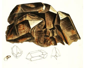 Vintage Illustration of Smoky Topaz or Cairn Gorum Stone