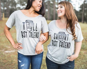 Best Friend Gift - Best Friend Shirts - Best Friends - Meilleur Ami Tshirt - Coffee Shirt - Tall Best Friend - Short Best Friend - BFF Shirt