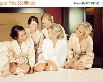 ON SALE Champagne Embroidered Bridesmaid Robe Sets Champagne Kimono Robe Bridal Party Champagne Robes Champagne Satin Robe Embroidered Weddi