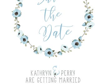 Baby Blue floral Save the Date shabby chic
