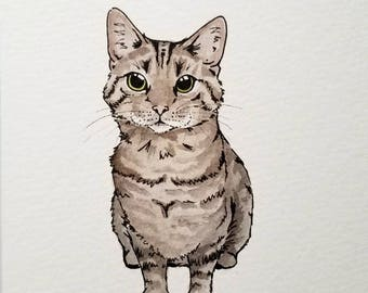 Mini Custom Cat Portrait // Personalized Pet Art // Gift For Cat Lovers // Cat Watercolor // Birthday Gift  // Cat Lady // Valentines Day