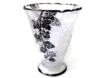 Art Deco Val St. Lambert Belgian Crystal Vase, Silver Overlay, Fruit Panels Wedding Decor Centerpiece