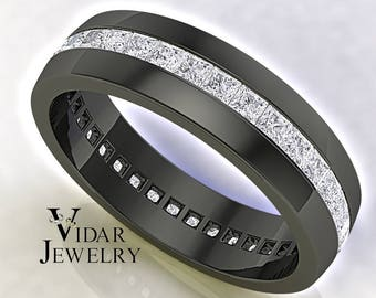 Mens Wedding Band, Unique Wedding Band, Black Gold Princess Diamond Wedding  Ring, Mens