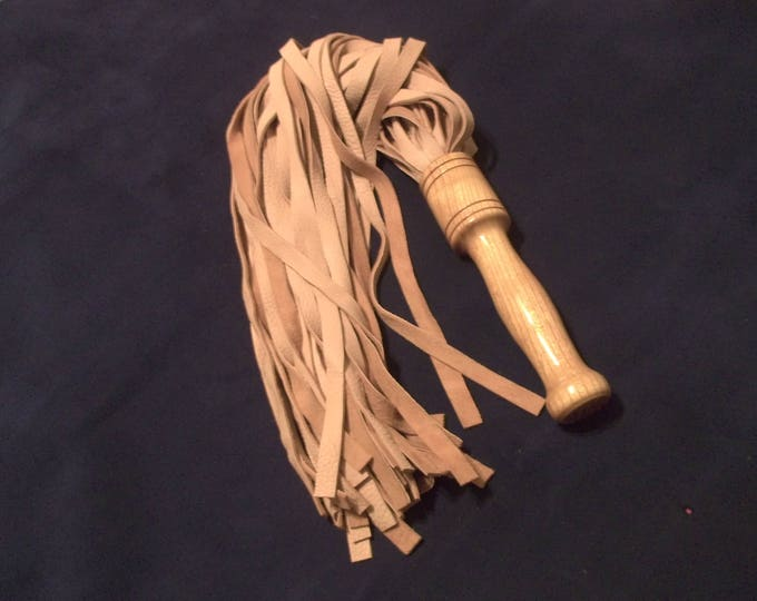 Beautiful Heavy North American Buckskin Flogger with Exotic Wood Handle!