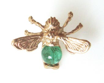 14K Gold Bee Tie Tack Lapel Pin With Emerald Stone