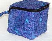 "Custom for We3JewelryPlus, zippered project yarn box, 5.5"" x 5.5"" sock box bag, knitting, crochet, embroidery"