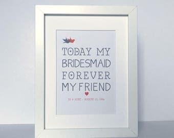 Personalised Bridesmaid Framed Print | Thank you word art gift