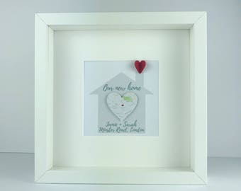 Framed house with 3D map heart | housewarming new home gift | first home | personalised gift