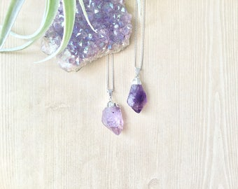 Amethyst Raw Stone Pendant Necklace in Silver