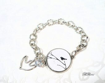 Bracelet silver curb chain and bird BR828