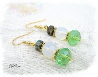 Earrings green and gold glass /BO499