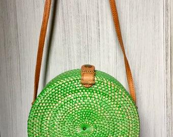 Handmade Rattan|Ata Grass Round bag; Bali bags; Crossbody; ; Boho bag; Hippie Bags; Made from Bali, Indonesia