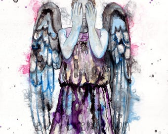 Weeping Angel Dr. Who art, weeping angel art, Dr Who art, Dr Who fan art, don't blink art, nerd art, Dr. Who wall art, Dr. Who lover gift