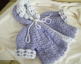 coat with hood, coat, jacket 0/6 month Baby Lavender/white baby crochet wool