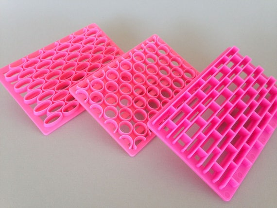3 pc set of plastic imprint stamp texture is for polymer clay, Mokume stamp, cookies, fondant cake decorating