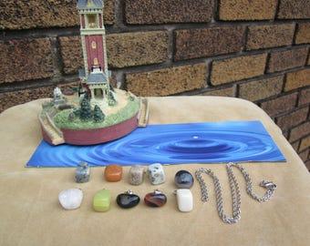 Summer Sale! BEACH polished stones interchangeable 10 pendant & chain. Lot B