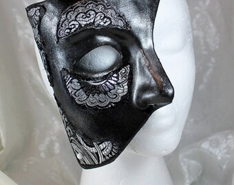 Black Silver Phantom Mask, Black and Silver Paper Mache Phantom Masquerade Mask