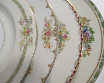 Vintage Mismatched China Dinner Plates for Garden Party, Wedding China, Dinner Party,Weddings,Bridal Luncheon,Showers - Set of 4