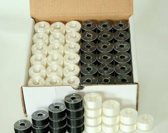 144 x Pre-wound Plastic Bobbins Embroidery Thread - White and Black