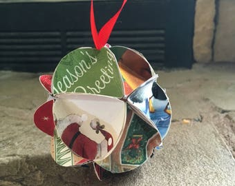Up-cycled Christmas Card Ornament