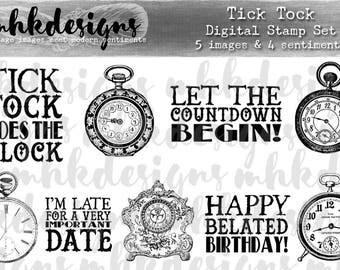 Tick Tock Digital Stamp Set