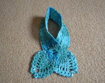 Handmade Sea Blues Crochet Pineapple Stitch Cowl Winter Scarf
