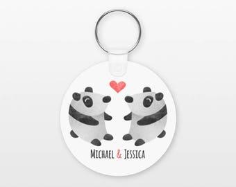 Panda Keychain, Couple Keychain Personalized Keychain, Boyfriend Keychain Girlfriend Keychain, Couple Key Chain, Animal Keychain, Keyring