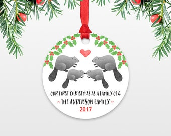 New Baby Christmas Ornaments Christmas Family Ornament New Parents Our First Christmas as a Family of Four 4 Beaver Personalized Ornament