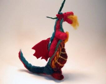 Wool baby dragon/soft sculpture dragon/nursery decoration/dragon sculpture/red dragon/art doll dragon/dragon miniature/needle felted dragon