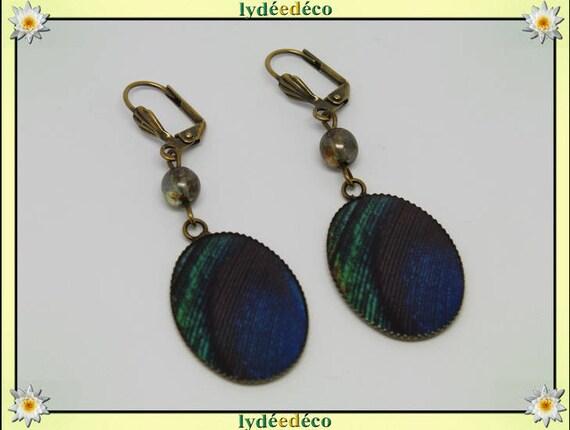 Earrings vintage retro feather peacock blue green black resin bronze Pearl glass pendants 18x25mm