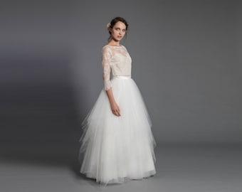Maxi tulle skirt - wedding separate - ecru floor length skirt - ecru maxi skirt, wedding gown, wedding skirt - elegant bridal dress - white