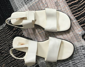 White sling back white sandals size 9