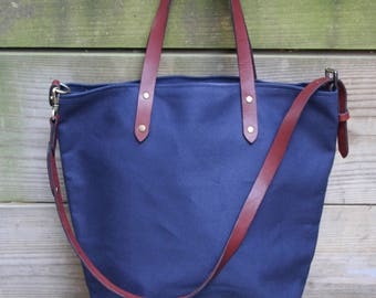 Water Resistant bag / Carry all with leather straps/ Canvas tote bag / Tote bag/ Adjustable straps/ School bag/ crossbody bag