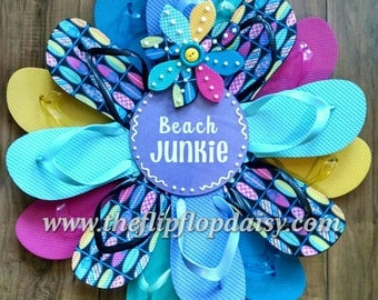CUTE Surfboard Print Beach Junkie Flip Flop Wreath Coastal Decor Beachy Wreath Deck