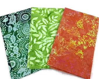 Indonesian Batik Print Fabric--FAT QUARTER BUNDLE--Hand Dyed Indonesian Fabric--Assorted Pattern--Earth Tones--3-Pack Fat Quarter Bundle