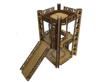 Industrial Tower A2 -  2 Level Rig Platform - Futuristic Necromunda Warhammer 40k Wargaming Building Scenery 28mm Scale