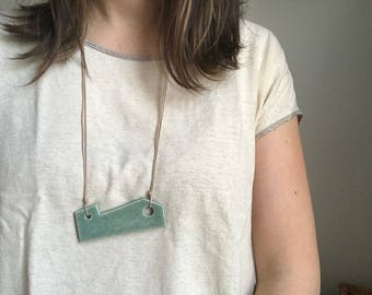 Green Geometric Ceramic Necklace with Taupe Cotton Cord