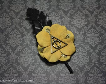Hufflepuff Colours - Deathly Hallows Themed Boutonniere - Metal, Harry Potter Inspired Wedding, Groom, Groomsmen, Prom, Corsage