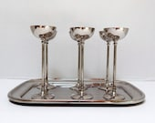 Vintage German Silver Plate Aperitif Glasses (6) with Tray