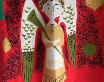 Tammis Keefe Apron, Tea Towel Upcycled by Ethel, MCM Kitchen Towel, Cool Hack, Great Condition, Red Green, Angel with Horn, Noel Apron