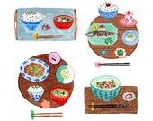 "Japanese food 8 x 8"" giclee print"