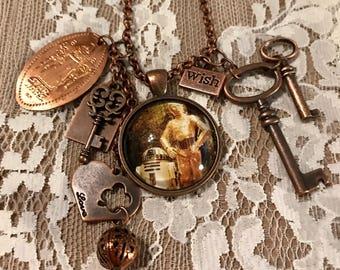 Charm, Pendant Necklace 'Star Wars' Theme--C3PO. In Antique Copper Tone.