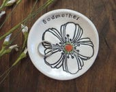Reserved for Judy, ring dish, ring holder, white flower, handmade earthenware pottery, Gift Boxed, IN STOCK