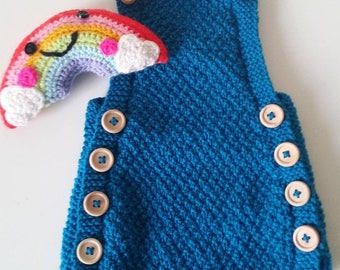 Handknit romper short suit. Handknit childrens clothes. Baby clothing. Knitted romper. Knitted short suit. Knitted baby clothes. Baby shower