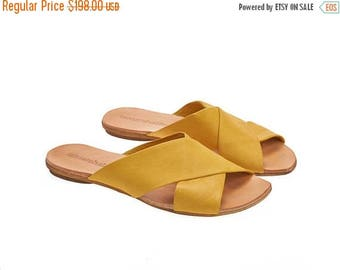 ON SALE Yellow crossover sandals, Simone, Handmade leather sliders