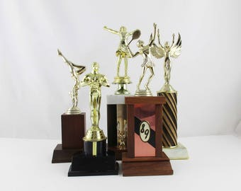 Fun Instant Trophy Collection - Cheerleading - Tennis - Gymnastics - Recycled with Marble, Wood or Plastic Bases - Fill in the Blanks