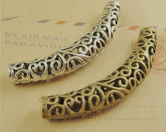 5pcs  Antique Silver&Bronze Large Curved Tube Bead -filigree tube spacer beads Jewelry making Supplies
