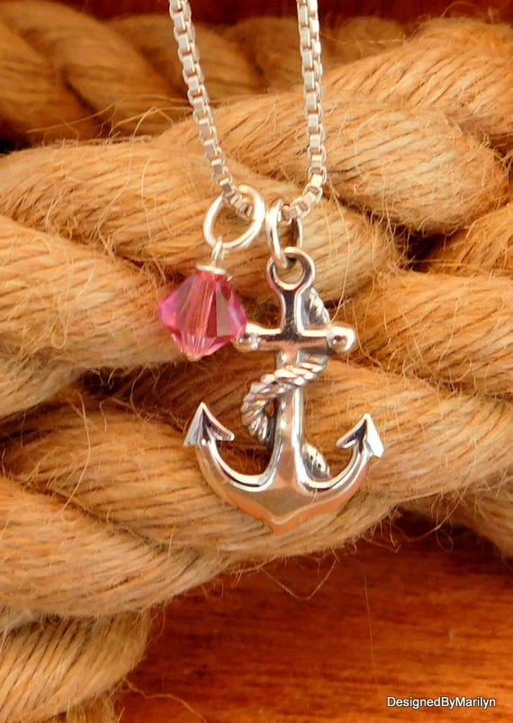 Sterling silver anchor necklace, religious necklace, jewelry of faith, birthstone jewelry, sailor's anchor, military jewelry