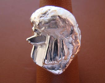 Sterling Silver Poodle Head Study Ring