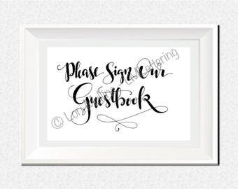 8x10 Wedding Sign - Downloadable - Printable - Digital Art Print - Hand Lettered - Guestbook Sign